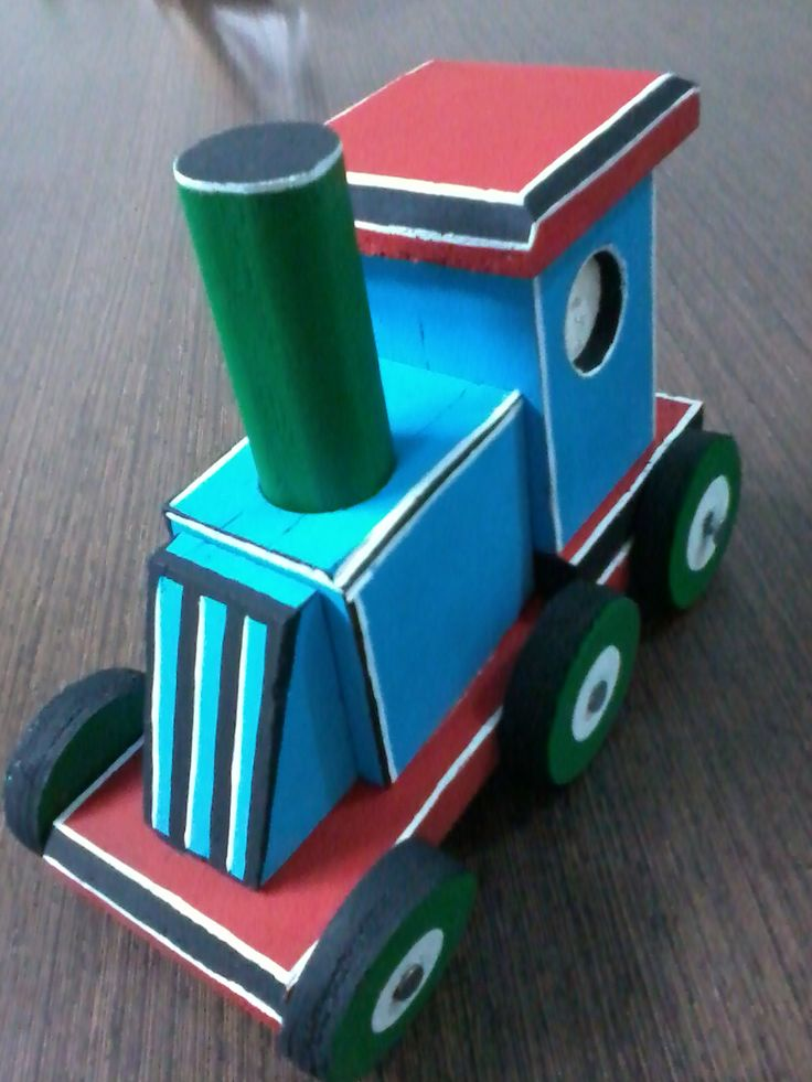 toy train in recycled wood.
