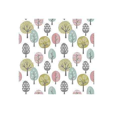 View Trees Duck Egg, Green U0026 Pink Vinyl Wallpaper Details