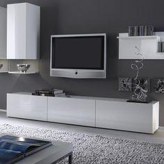 Banc TV blanc laqué design FOXY