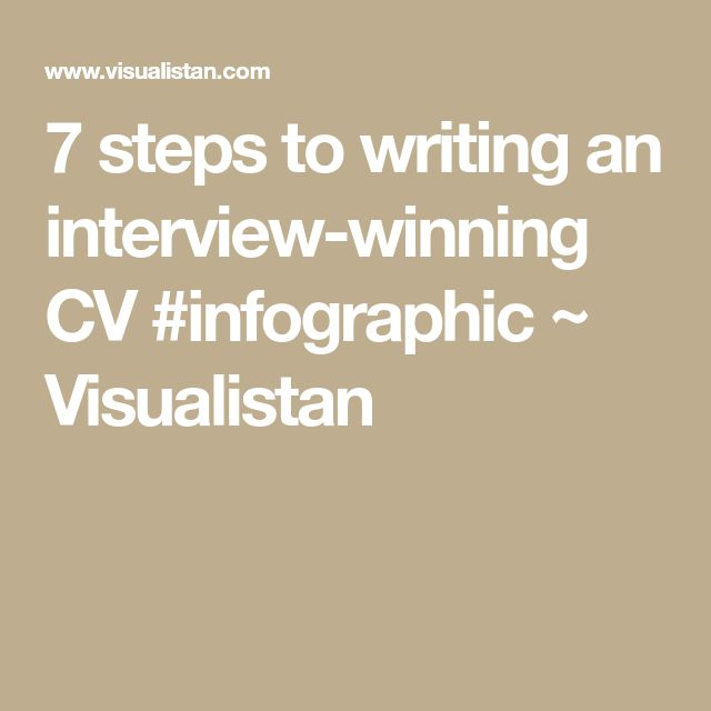 7 steps to writing an interview-winning CV #infographic ~ Visualistan