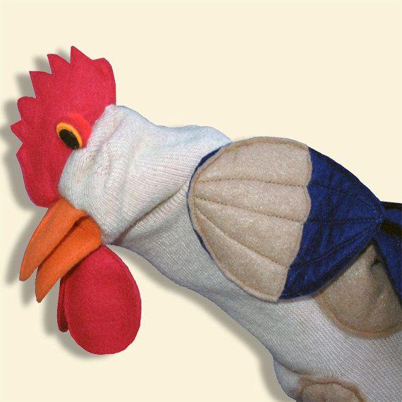 Handmade Fancy Rooster Sock Puppet by SockHollow on Etsy