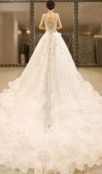 Cute Ball Gown Floor length Straps Beading Tiered Cathedral Train Wedding Dress