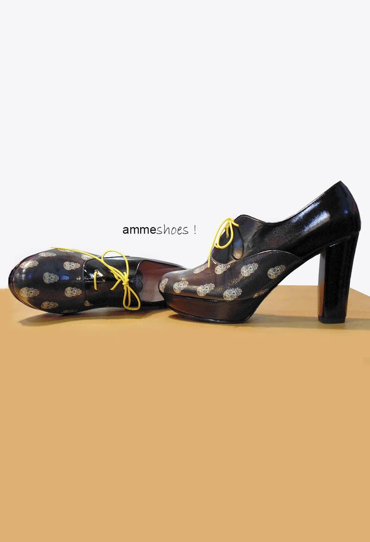Zapatos de tacón y plataforma diseños de calaveras 100% cuero #calaveras #zapatos