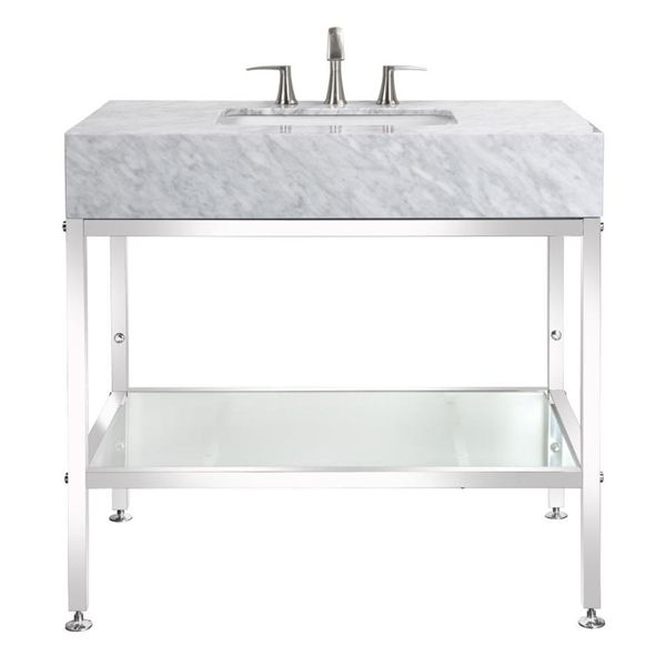 Banodesign Abigail Collection Carerra Marble Top Stainless Steel 36 Und Stainless Steel Bathroom Vanity Stainless Steel Bathroom Contemporary Bathroom Vanity