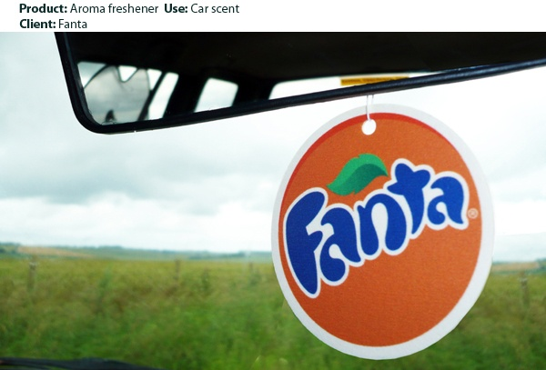 Branded car airfreshner infused with the scent of Fanta orange.