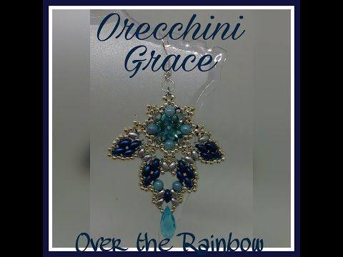 Orecchini Grace - rivoli 12mm, perle 4mm, bicono 3mm, superduo, miniduo, o beads - YouTube