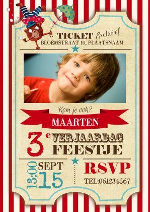 Een originele uitnodiging in de vorm van een circus ticket. Voor meer leuke uitnodigingen, ga naar *Cartita Design -- KINDERFEESTJE --