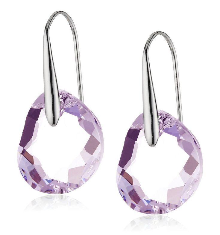 Swarovski Light Amethyst Crystal JEWELRY Pierced Earrings GALET Rhodium #5023083