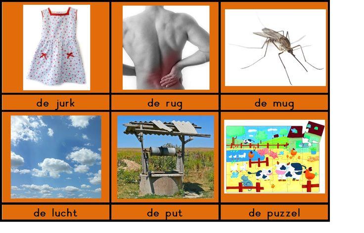 woordkaarten om de klank / u / aan te leren