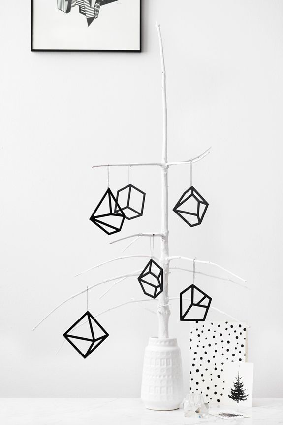 Geometric Christmas | Black and White | Kristina Dam | via Bungalow 5