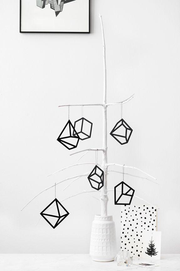 Geometric Christmas | Black and White | Kristina Dam | via Bungalow 5