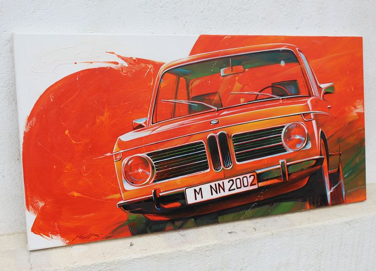 bmw 2002 art work, automotive art, car art, auto art