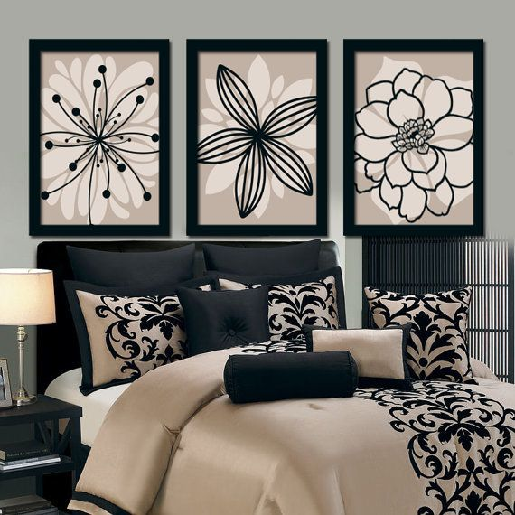 Bedroom Bedding Match Wall Art Canvas Artwork Brown Beige Black Flower Burst Outline Dahlia Floral Set of 3 Prints  Decor Bathroom Three