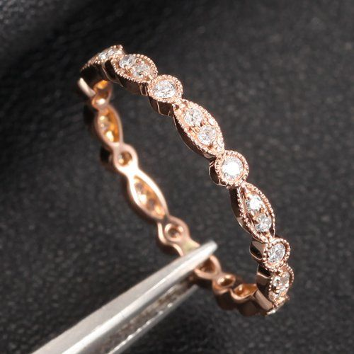 Amazon.com: Antique Art Deco Vintage FULL Eternity Band MILGRAIN Bezel .32ct Diamond Real 14K Rose Gold Wedding Ring: Jewelry
