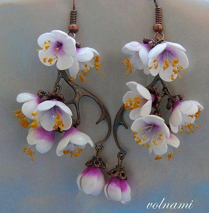 """""""Сакура"""" серьги - сакура,8 марта,цветы,цветы из полимерной глины,весна"""