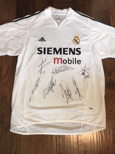 eBay  Sponsored Real Madrid Signed Shirt Jersey 2004 2005 COA Beckham  Ronaldo ZIdane Raul Figo 292162ca1