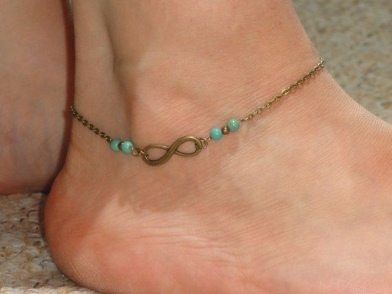 Infinity Anklet Antique Bronze Infinity Turquoise Ankle Bracelet