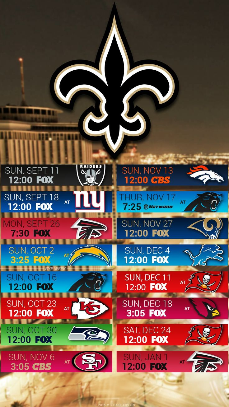 2016 New Orleans Saints Football Schedule for IPhone or Android