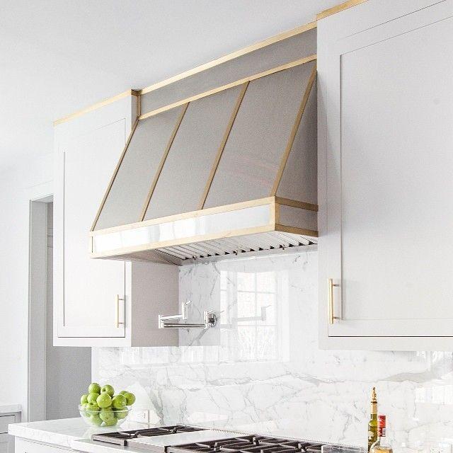 Stainless Steel Kitchen Hood with Brass Trim, Transitional, Kitchen