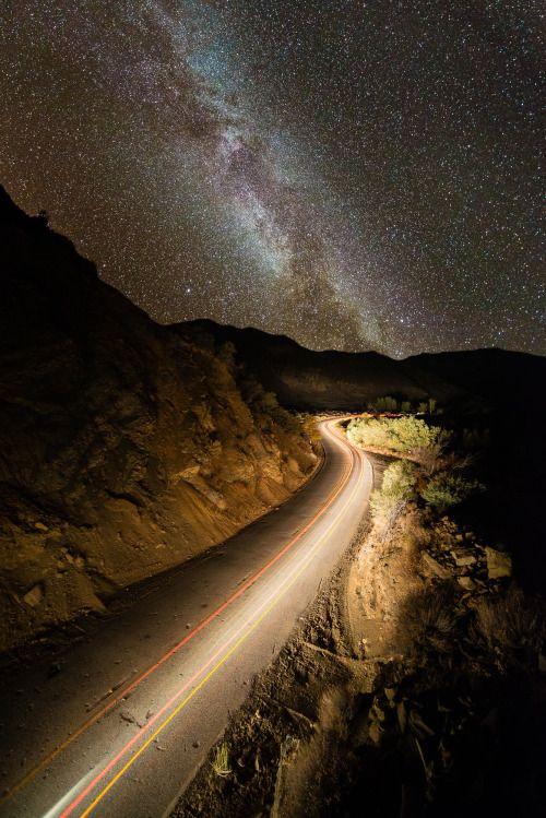 The Milky Way rises above highway 33 north of Ojai, California. Website Rebloging/Sharing okay with credits attached. by Jackson Compean (hakuna-shida.tumblr.com)