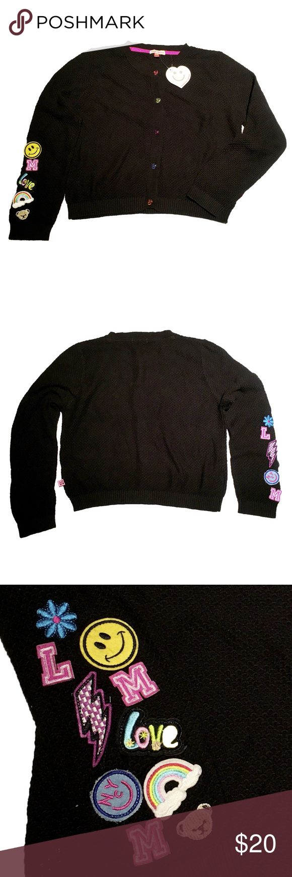 """NWT😍😘Black Honeycomb cardigan Sweater w/patches ❣️💕Great for the holiday! - Light weight, fine gauge texture sweater  - funky patches design @ one sleeve. whimsical, adorable and cheerful!  - Rainbow color heart candy button front closure.  * Fabric Content- 83/19/18 cotton/Nylon/viscose  * Measurement- Size runs big, generous fit  Chest- 18""""W  Length ( High Point Shoulder)- 18""""  Set-in Sleeve (Shoulder Point)- 22"""" Little Miss Matched Jackets & Coats"""