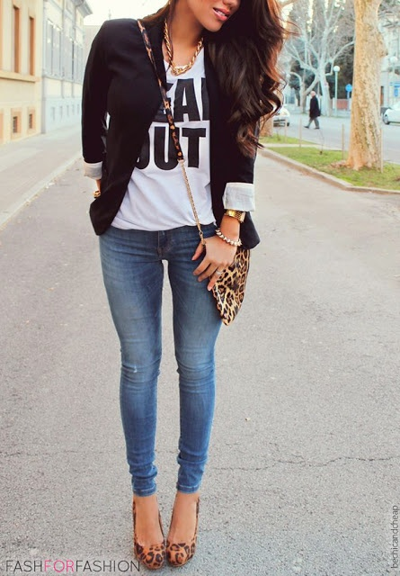 Leopard purse & heels, black blazer, skinnies, simple t