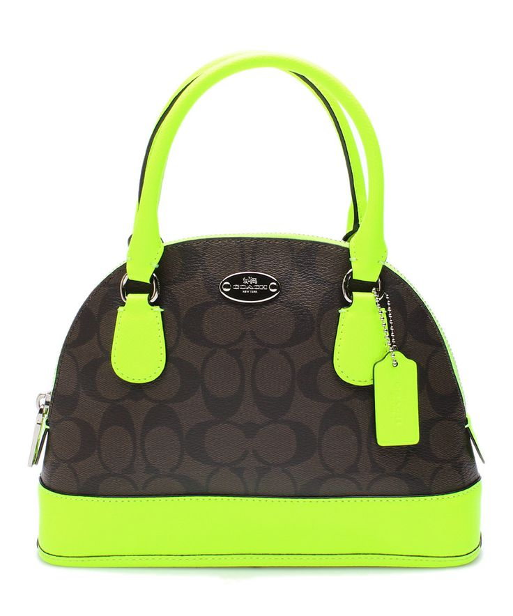 Saddle Neon Lime Signature Dome Satchel By Coach