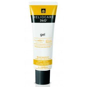 Heliocare 360º Gel SPF 50+ , f otoimunoproteção muito alta numa textura gel, fácil de aplicar e rapidamente absorvida pela pele.,  Apresenta a cobertura mais ampla contra UVB, UVA, IV-A e Visível graças à sua avançada combinação de filtros físicos e químicos e ingredientes ativos específicos. Adaptado a todos os tipos de pele, incluindo a pele oleosa e acneica.