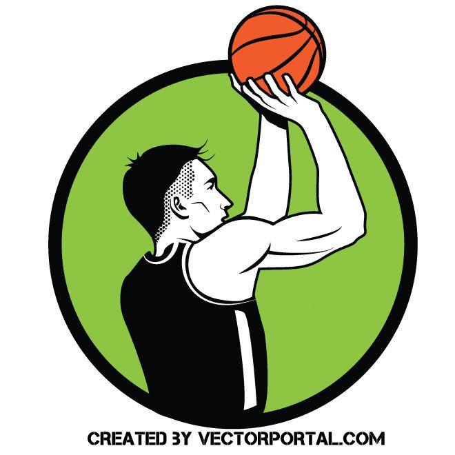 Basketball Player Free Throw Vector Image Basketball Players Vector Free Free Throw