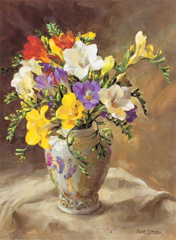 Ann Cotterill   OIL                         Freesias in a Chinese Vase