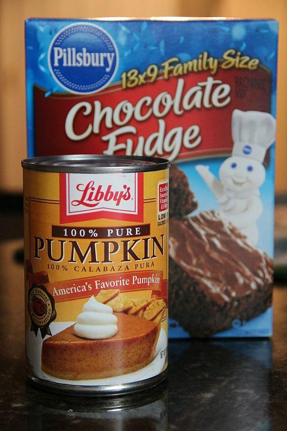 2 ingredient pumpkin brownies!