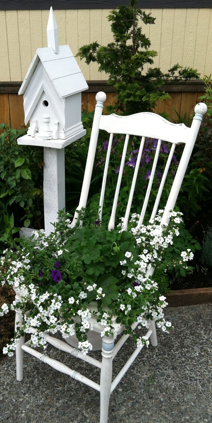 I finally got a cute little planter to go in the chair I painted. see me at www.facebook.com/Carlasgardenanddecor