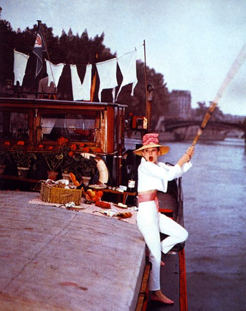 Audrey Hepburn fishing in Funny Face (1957).