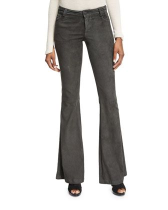 Suede+Flare+Pants,+Charcoal+by+Alice+++Olivia+at+Neiman+Marcus.