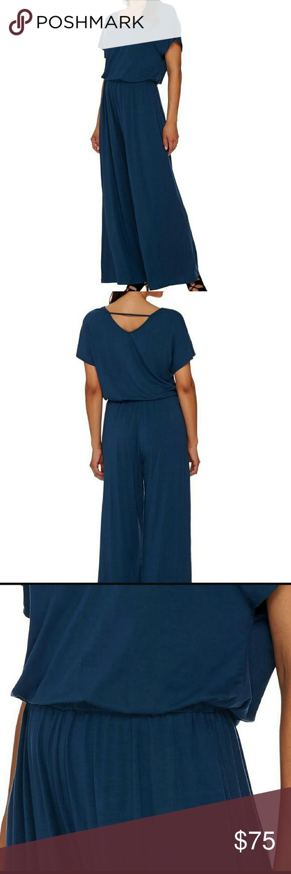 Lisa Rinna Slinky Blue Jumpsuit NWOT Tons of stretch and slinky material. 95% Rayon/5% Spandex.   Elastic waist, easy pull on style.  Gorgeous deep ocean blue. Lisa rinna Pants Jumpsuits & Rompers