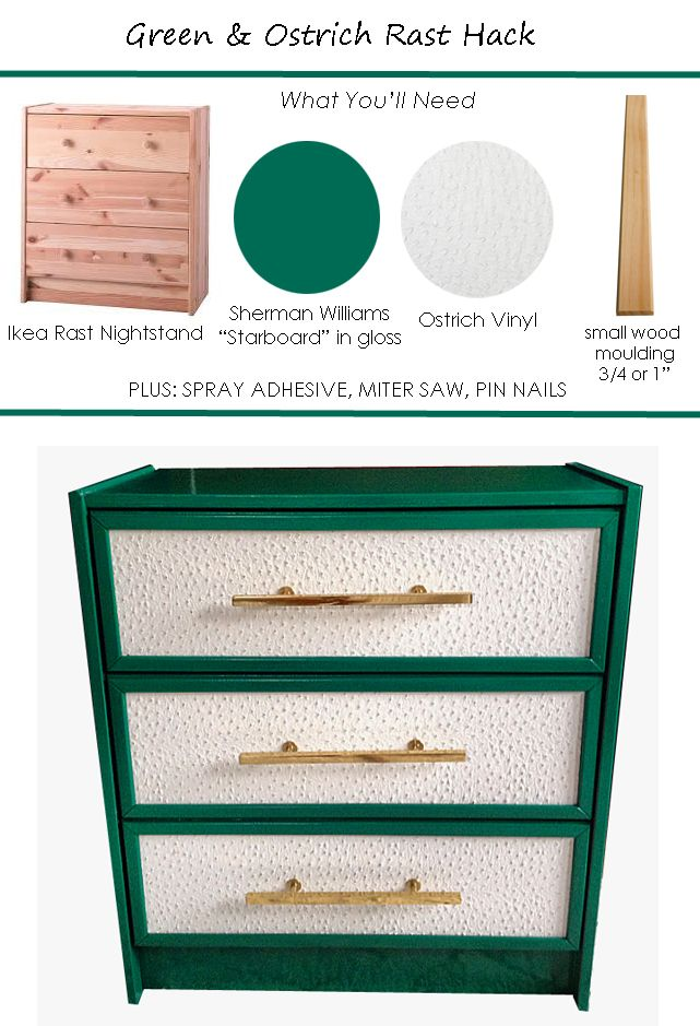 In an effort to get the bedroom finished, (well past the One Room Challenge deadline,) George and I transformed my pine Ikea Rast Nightstands into these emerald green/ ostrich faced beauties. I wish I