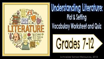 This download contains one worksheet and one quiz over literary terms concerning plot and setting that students will need to know.. Worksheet: 11 Terms Included: Exposition, Climax, Suspense, Setting, Mood, etc... Students are asked to define the terms and provide an example of the term from a piece of literature