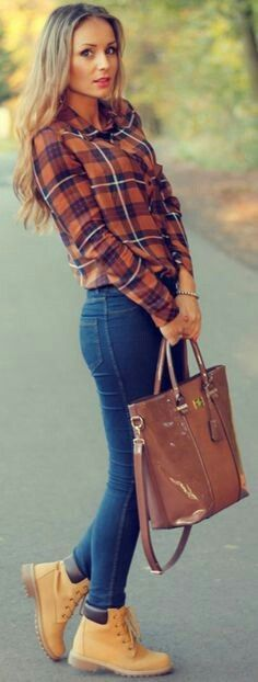 Cute fall country girl outfit with caramel lumberjack boots