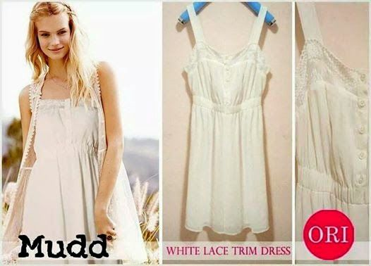 let's shop here : Mudd White Lace Trim Dress