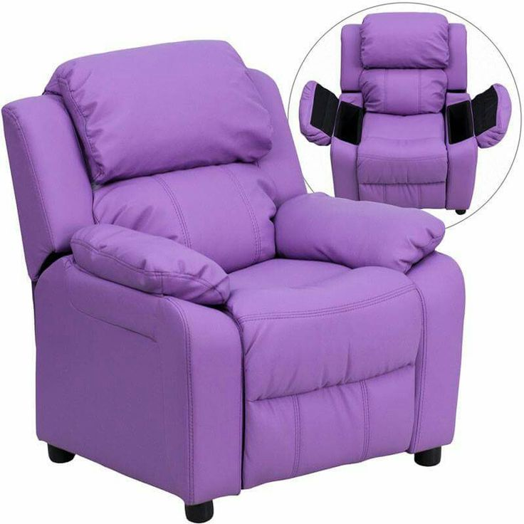 Kids will now be able to enjoy the comfort that adults experience with a comfortable recliner that was made just for them. This petite sized recliner features storage arms so kids can store items away