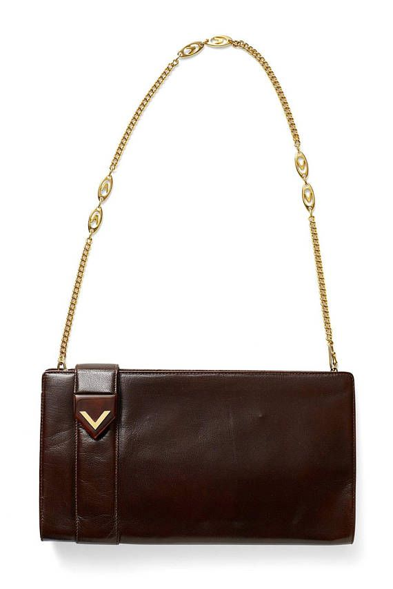 Vintage 60s 70s Valentino Logo Brown Leather Lucite Valentino Logo Shoulder Bag Bags