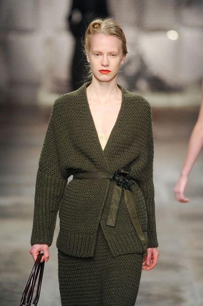 green two piece with Belt & victory rolls // Antonio Marras Fall 2011