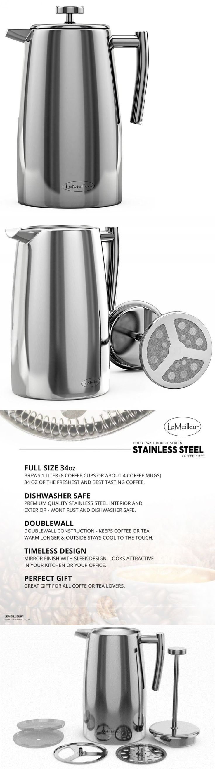 Bed bath beyond french press - French Presses 98851 French Press Coffee Maker Stainless Steel Press Double Wall Double