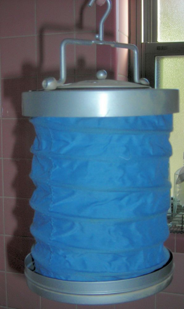 FABRIC blue  LANTERN   ACCORDION  COLLAPSIBLE  in metal tin   3 colors avail     | Home & Garden, Yard, Garden & Outdoor Living, Outdoor Lighting | eBay!