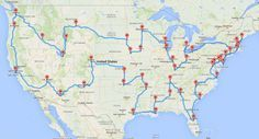 Cross country road trip map that touches all 48 continental states. (National parks, historical sites, and tourist attractions) super neat idea to tweak with and make my own. :)
