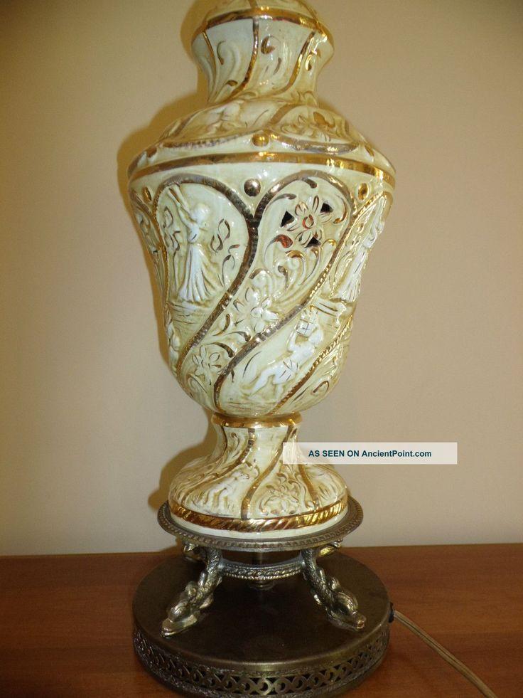Vintage Capodimonte Figural Table Lamp Gold White