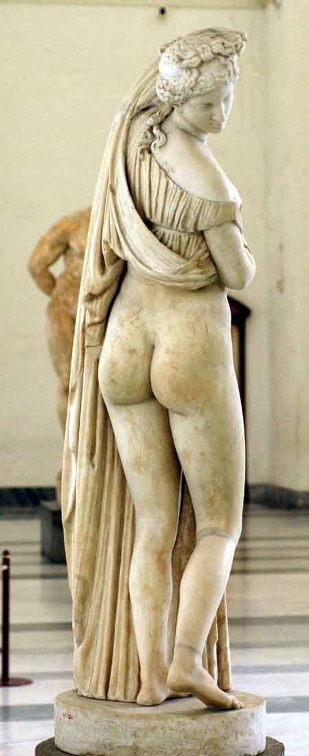 Venus turning back to see her reflection in a pond. National Museum, with excavations from Herculaneum and Pompei, as well the Farnese collection from Rome.