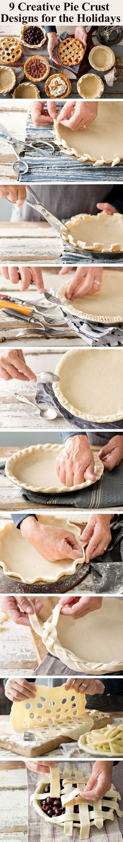 9 Creative Pie Crust Designs for the Holidays delicious baking recipe pie thanksgiving holidays recipes christmas dessert recipe dessert recipes food tutorials food tutorial