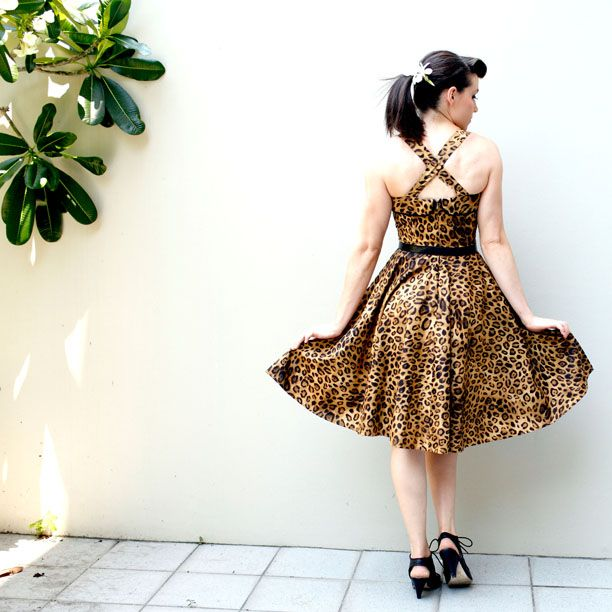 Venona Pearl dress- Leopard print- Fifties style. Now on sale on Etsy Store!!