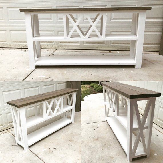 Rustic X Winerack Console Table